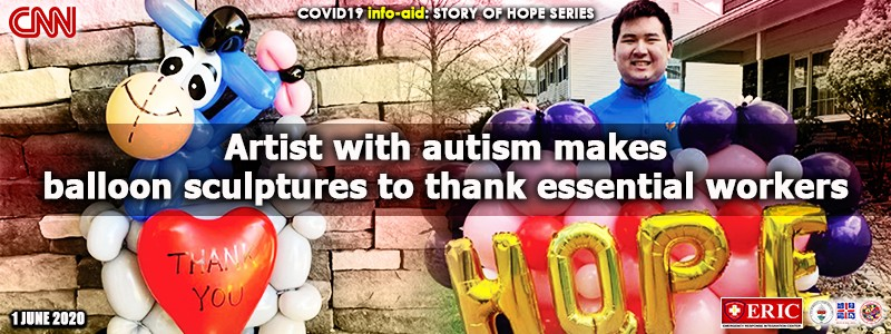Artist with autism makes balloon sculptures to thank essential workers