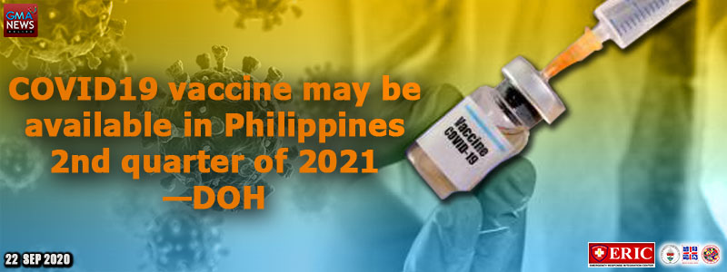 COVID-19 vaccine may be available in Philippines 2nd quarter of 2021 —DOH