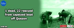 1 dead, 22 rescued from capsized boat off Quezon