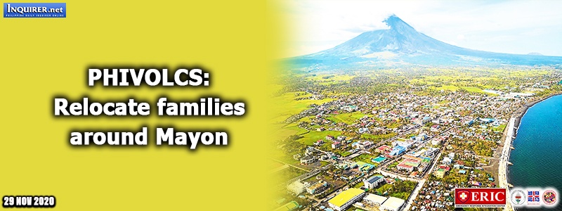 Phivolcs: Relocate families around Mayon