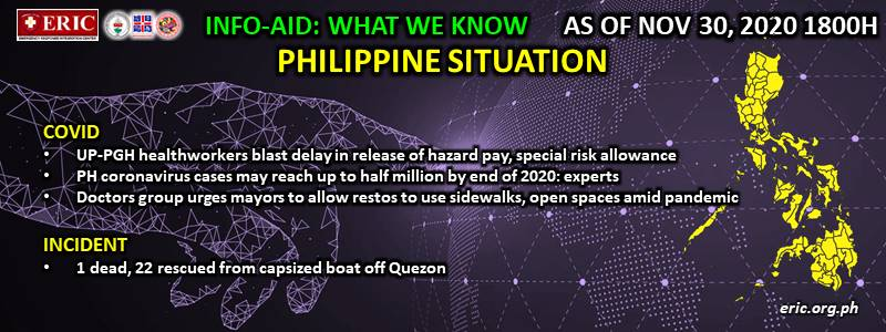 INFO-AID WHAT WE KNOW PHILIPPINE SITUATION AS OF 30 NOVEMBER 2020, 1800H