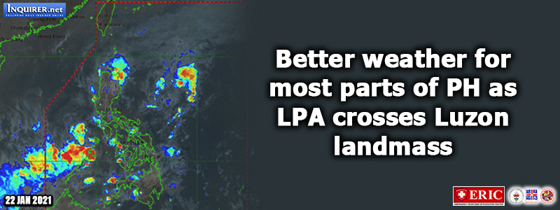 Better weather for most parts of PH as LPA crosses Luzon landmass