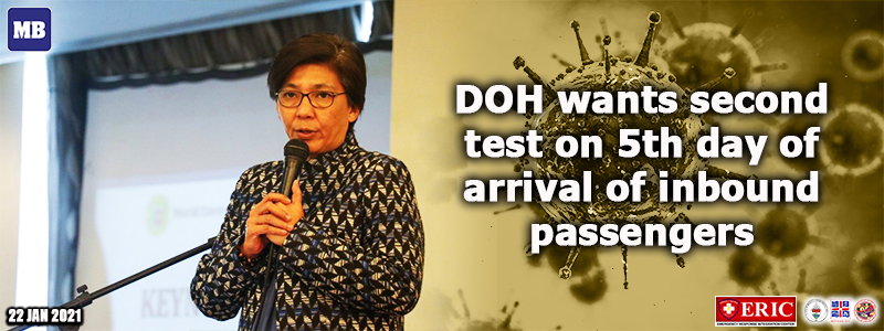 DOH wants second test on 5th day of arrival of inbound passengers