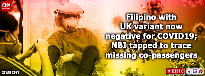 Filipino with UK variant now negative for COVID-19; NBI tapped to trace missing co-passengers