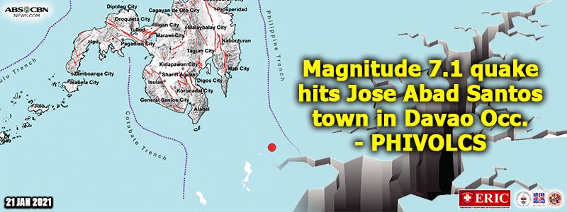 Magnitude 7.1 quake hits Jose Abad Santos town in Davao Occ. – PHIVOLCS