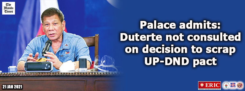 Palace admits: Duterte not consulted on decision to scrap UP-DND pact