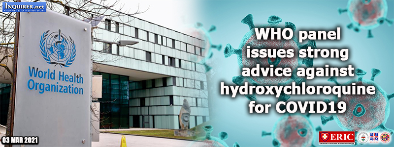 WHO panel issues strong advice against hydroxychloroquine for COVID-19