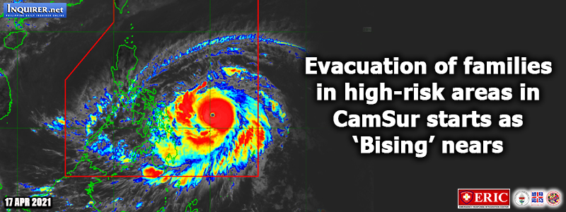 Evacuation of families in high-risk areas in CamSur starts as 'Bising' nears