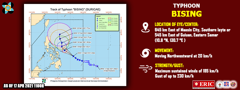 """TYPHOON """"BISING"""" SLIGHTLY INTENSIFIES WHILE MOVING NORTHWESTWARD OVER THE PHILIPPINE SEA."""