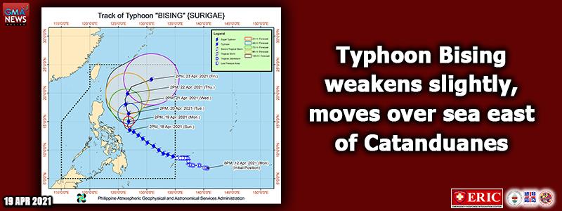 Typhoon Bising weakens slightly, moves over sea east of Catanduanes