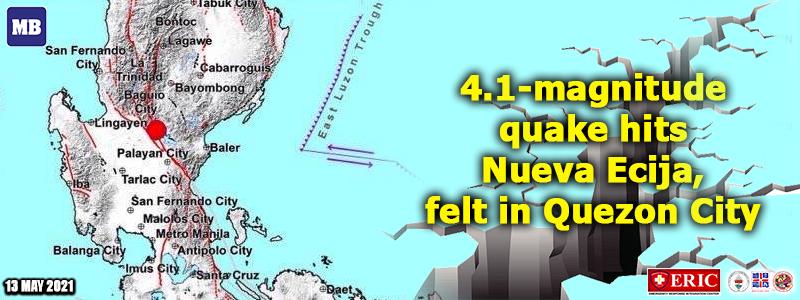 4.1-magnitude quake hits Nueva Ecija, felt in Quezon City