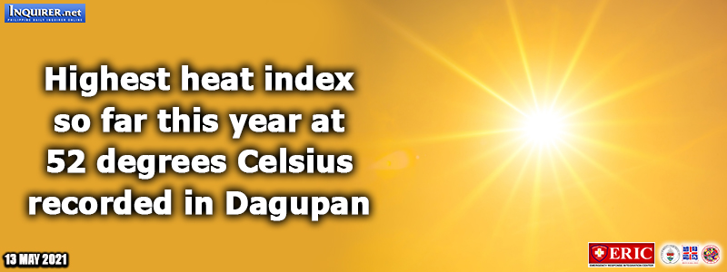 Highest heat index so far this year at 52 degrees Celsius recorded in Dagupan