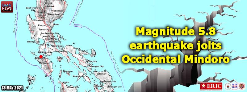 Magnitude 5.8 earthquake jolts Occidental Mindoro