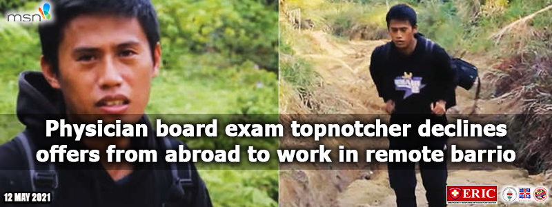 Physician board exam topnotcher declines offers from abroad to work in remote barrio