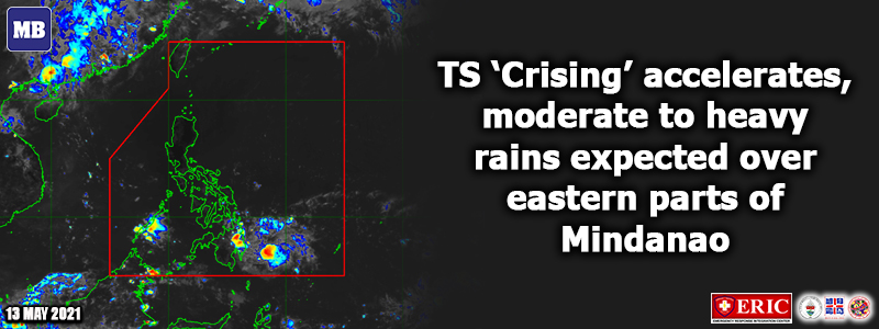 TS 'Crising' accelerates, moderate to heavy rains expected over eastern parts of Mindanao