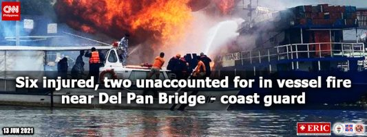 Six injured, two unaccounted for in vessel fire near Del Pan Bridge – coast guard