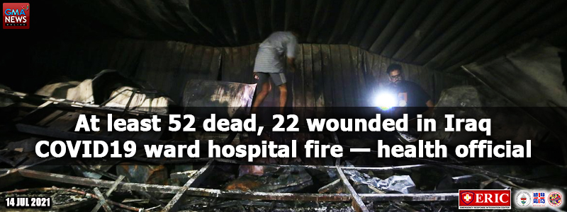 At least 52 dead, 22 wounded in Iraq COVID-19 ward hospital fire —health official