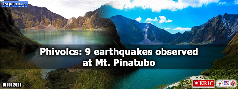 Phivolcs: 9 earthquakes observed at Mt. Pinatubo