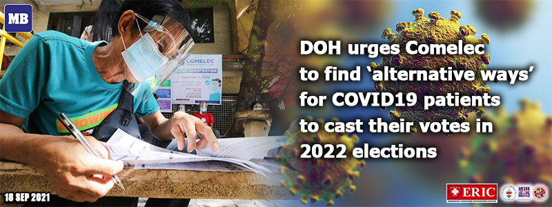 DOH urges Comelec to find 'alternative ways' for COVID-19 patients to cast their votes in 2022 elections