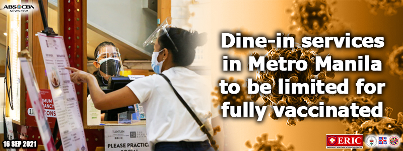 Dine-in services in Metro Manila to be limited for fully vaccinated