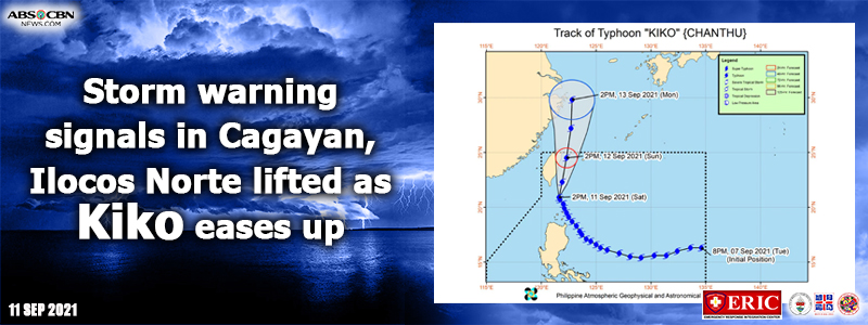 Storm warning signals in Cagayan, Ilocos Norte lifted as Kiko eases up