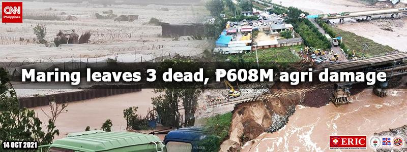 Maring leaves 3 dead, ₱608M agri damage